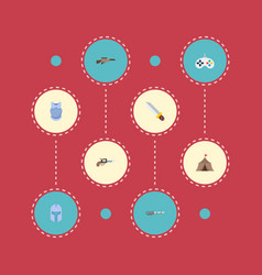 set of gaming icons flat style symbols with sniper vector image