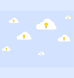 set of ideas with a light bulb on clouds vector image