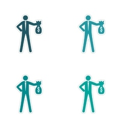 Set of stylish sticker on paper man with bag money vector