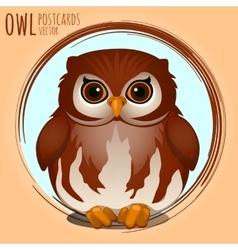 Shubby brown owl cartoon series vector