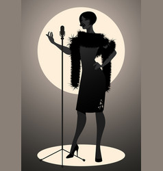 silhouette of woman wearing retro style singing vector image