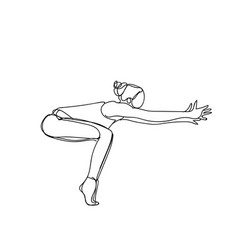 silhouette woman in joga pose doodle on white vector image