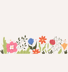 simple hand drawn floral field flowers frame vector image