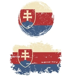 Slovakia round and square grunge flags vector