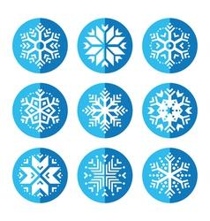 Snowflakes round blue icon set vector image