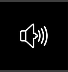 sound line icon on black background black flat vector image