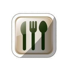 Sticker square button set collection cutlery vector