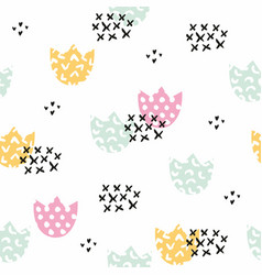 stylized childrens pattern with flowers vector image