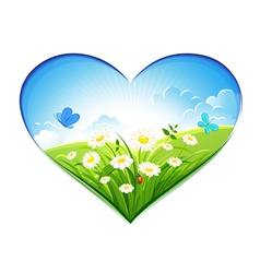 Summer background in form heart vector