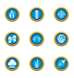 Training of a warrior icons set flat style vector