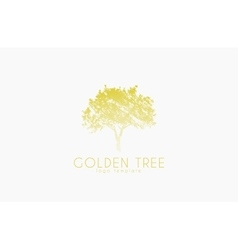tree logo golden nature logo design vector image