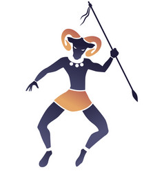 tribal zodiac aries man with ram head and spear vector image