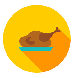 turkey dinner circle icon vector image