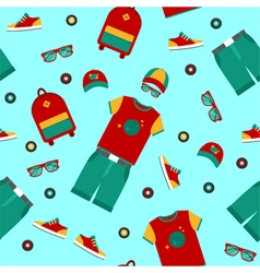 Urban lifestyle clothing and accessories pattern vector