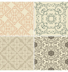 vintage floral seamless patterns vector image