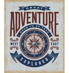 Vintage great adventure typography vector