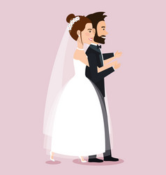 Wedding couple walking together in love vector