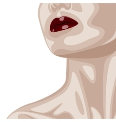 Woman with dark red Lips and beautiful Neck vector image