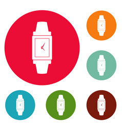 Wristwatch wood icons circle set vector