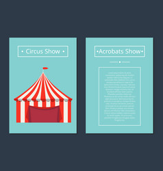 circus now acrobat show with tent in red and white vector image