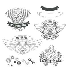 Set of biker vintage labels oldschool motor logo vector image vector image