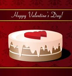 Valentines Day greeting card with cake vector image
