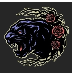 Black panther and roses vector image