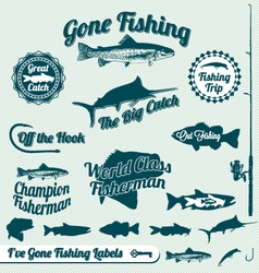Gone Fishing Labels vector image vector image
