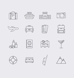 Line icons set in flat design Elements of Vacation vector image vector image