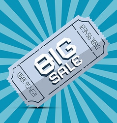 Retro Big Sale Paper Ticket on Blue Background vector image