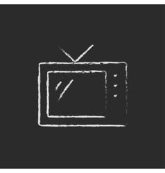 Retro television drawn in chalk vector image