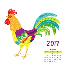 Roosters calendar august vector