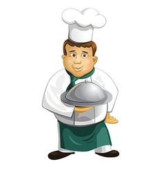 Chef in uniform with metal cloche isolated vector image vector image