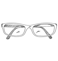 eye glasses hand drawing vector image