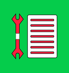 Flat icon design collection wrench and grille vector