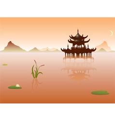 peaceful lake vector image vector image