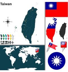 Taiwan map world vector image vector image