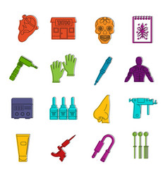tattoo parlor icons doodle set vector image