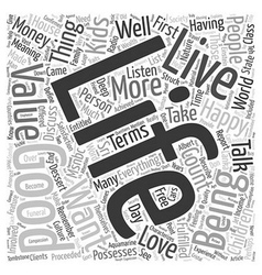 The Good Life text background wordcloud concept vector image