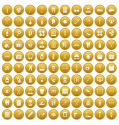 100 medical accessories icons set gold vector image vector image