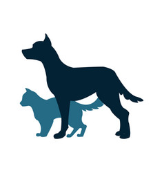 cat and dog silhoutte vector image vector image