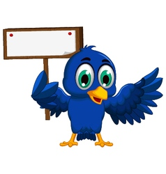 cute blue bird cartoon holding blank board vector image