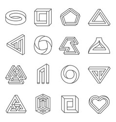 impossible figures line art collection vector image