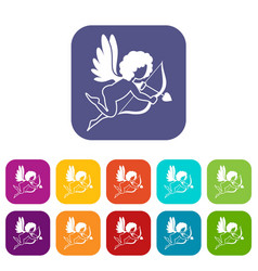 love cupid icons set flat vector image