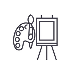 molbert and palette with brush line icon vector image