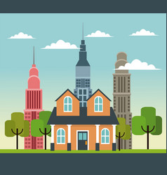 traditional home with skyscrapers building road vector image vector image