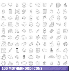 100 motherhood icons set outline style vector image