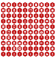 100 packaging icons hexagon red vector