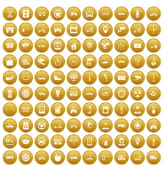 100 parking icons set gold vector