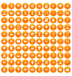 100 rain icons set orange vector
